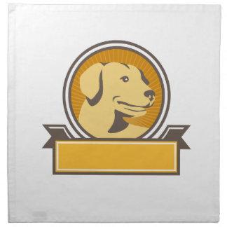 Yellow Labrador Golden Retriever Head Circle Retro Napkin