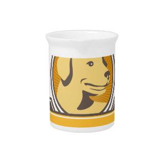 Yellow Labrador Golden Retriever Head Circle Retro Pitcher