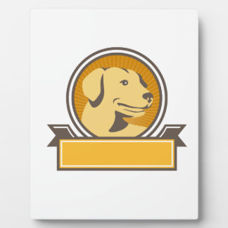 Yellow Labrador Golden Retriever Head Circle Retro Plaque