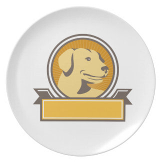 Yellow Labrador Golden Retriever Head Circle Retro Plate