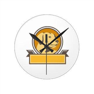 Yellow Labrador Golden Retriever Head Circle Retro Round Clock