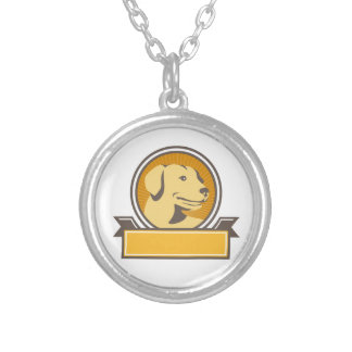 Yellow Labrador Golden Retriever Head Circle Retro Silver Plated Necklace