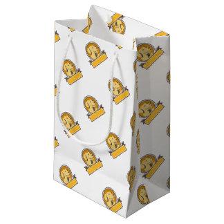 Yellow Labrador Golden Retriever Head Circle Retro Small Gift Bag