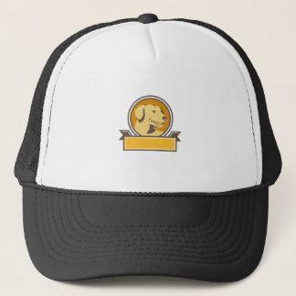 Yellow Labrador Golden Retriever Head Circle Retro Trucker Hat