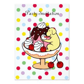 "Yellow Labrador & Ice Cream Sundae 5"" X 7"" Invitation Card"