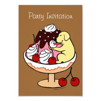"Yellow Labrador & Ice Cream Sundae 3.5"" X 5"" Invitation Card"