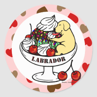 Yellow Labrador Ice Cream Sundae Round Stickers
