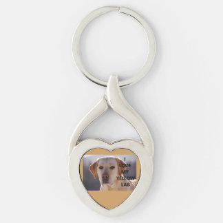 yellow labrador love w pic key ring