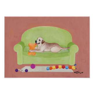 Yellow Labrador on the Green Couch Artwork Poster