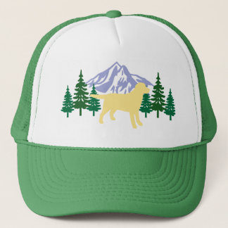 Yellow Labrador Outline Evergreen Trees Hat