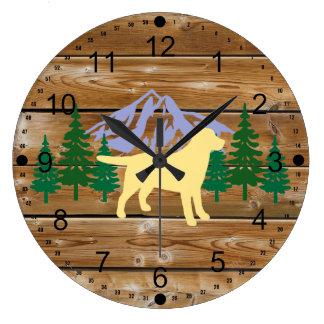 Yellow Labrador Outline Evergreen Wall Clock