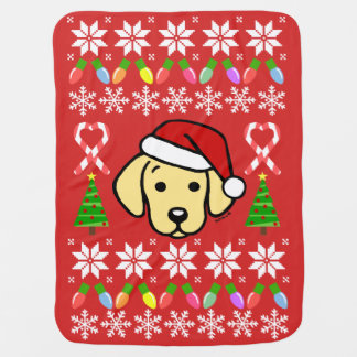 Yellow Labrador Puppy Christmas Pattern Baby Blanket
