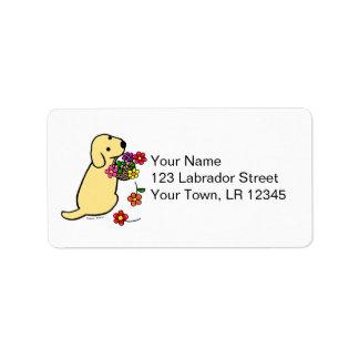 Yellow Labrador Puppy Flower Basket Cartoon Label