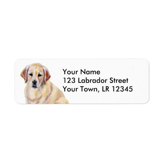Yellow Labrador Puppy Painting Return Address Label