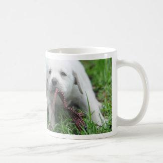 Yellow Labrador puppy playing tug of war Coffee Mugs