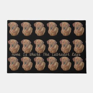 yellow labrador retreiver dog portrait fun slogan doormat