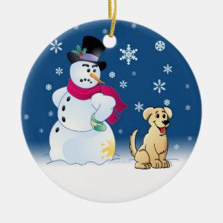 Yellow Labrador Retriever and Snowman Ceramic Ornament
