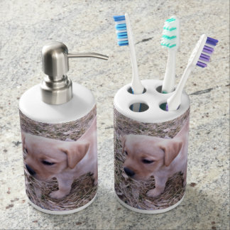 Yellow Labrador Retriever Bathroom Decor Soap Dispenser And Toothbrush Holder