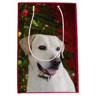 Yellow labrador retriever Christmas Medium Gift Bag