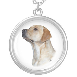 Yellow Labrador Retriever head Silver Plated Necklace