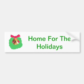 Yellow Labrador Retriever Holiday Christmas Wreath Bumper Sticker