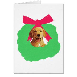 Yellow Labrador Retriever Holiday Christmas Wreath Card