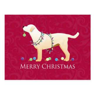 Yellow Labrador Retriever Merry Christmas Design Postcard