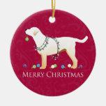Yellow Labrador Retriever Merry Christmas Design Round Ceramic Decoration