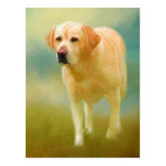 Yellow Labrador Retriever Painting Postcard