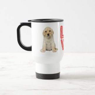 Yellow Labrador Retriever Puppy Dog Red Love Travel Mug
