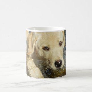 Yellow Labrador Retriever Puppy Splashing Water Coffee Mug