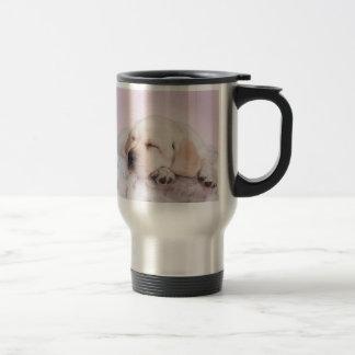 Yellow labrador retriever puppy stainless steel travel mug