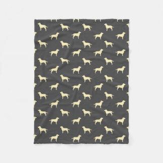 Yellow Labrador Retriever Silhouettes Pattern Fleece Blanket