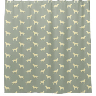 Yellow Labrador Retriever Silhouettes Pattern Shower Curtain