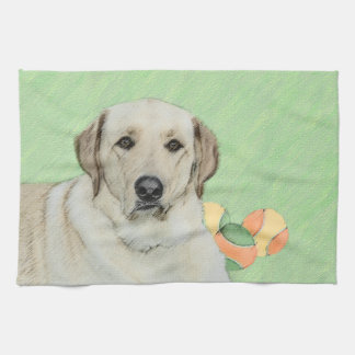 Yellow Labrador Retriever & Tennis Balls Painting Tea Towel