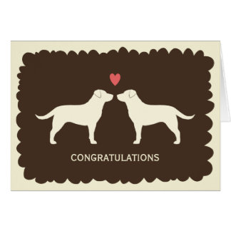 Yellow Labrador Retrievers Wedding Congratulations Card