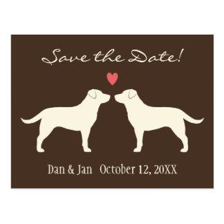 Yellow Labrador Retrievers Wedding Save the Date Postcard