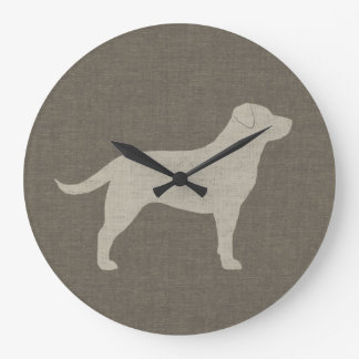 Yellow Labrador Silhouette | Faux Linen Style Large Clock