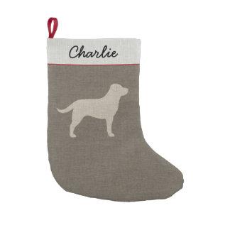 Yellow Labrador Silhouette | Faux Linen Style Small Christmas Stocking