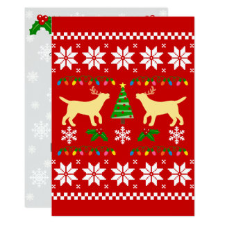 Yellow Labrador Silhouette Ugly Christmas Pattern Card