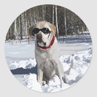 Yellow Labrador Snow Dog Classic Round Sticker