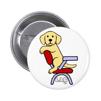 Yellow Labrador Student 3 Cartoon 6 Cm Round Badge