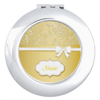 Yellow Lace and Bow Personalized Compact Mirror