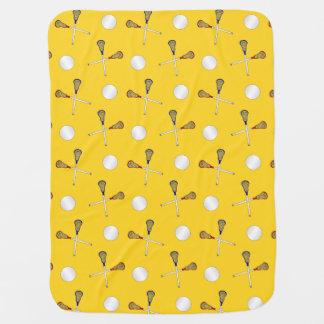 Yellow lacrosse pattern receiving blankets
