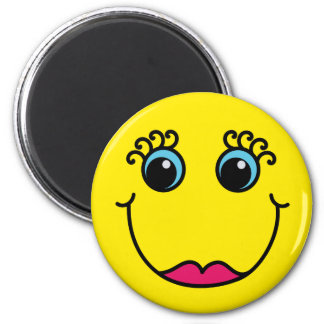 Yellow Lady Smiley Face Magnet