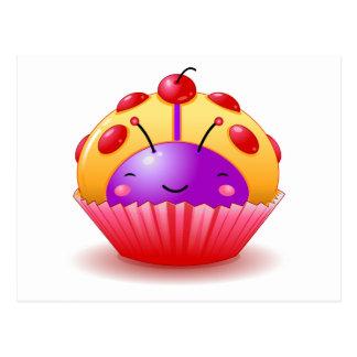 Yellow Ladybug Cupcake Postcard