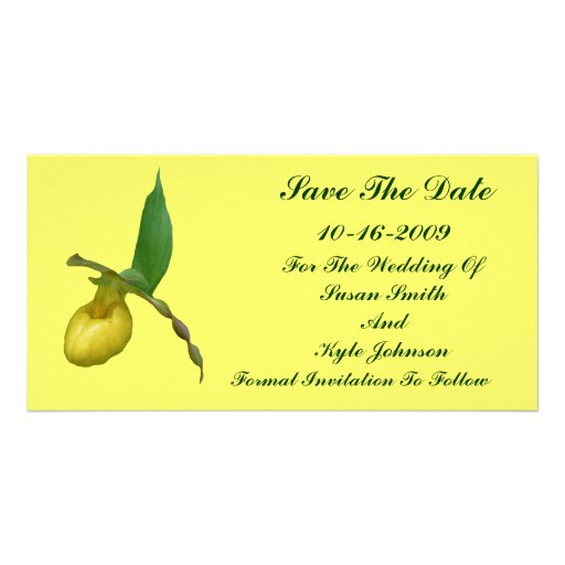 Yellow Lady's Slipper Flower Wedding Save The Date Customized Photo Card