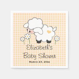 Yellow Lamb Gender Neutral Baby Shower Disposable Serviette