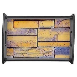 Yellow Lavender Funky Layers of Bricks Serving Tray
