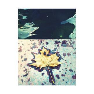 Yellow Leaf Fall Rain Canvas Print
